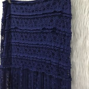 Miami blue lace boho festival skirt